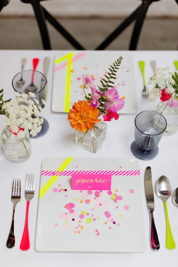 Modern Neon Wedding Placesetting