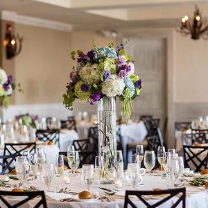 Purple and blue tall hydrangea wedding centerpieces