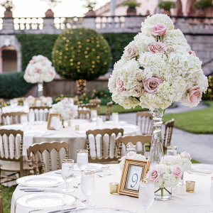Classic blush and white wedding reception