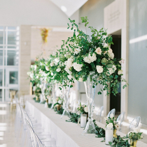 Classic white and greenery wedding reception