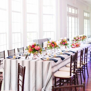 Striped wedding reception
