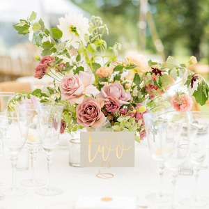 Mauve and pink floral centerpiece