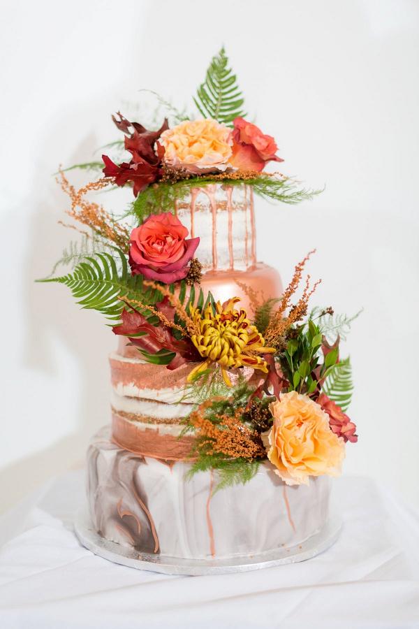 Metallic fall drip cake