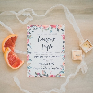 Floral print wedding invitation on Every Last Detail