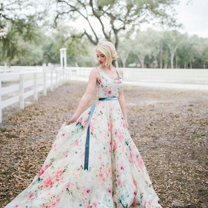 Floral print wedding dress on Every Last Detail