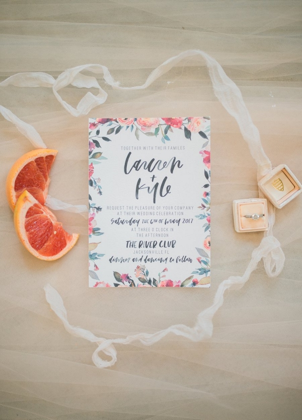 Floral print wedding invitation on Every Last Detail