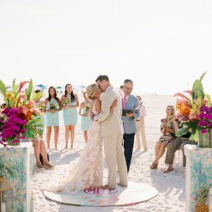 Colorful beach wedding ceremony