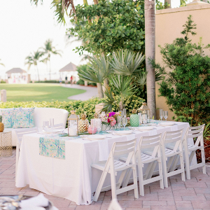 Colorful tropical beach wedding reception