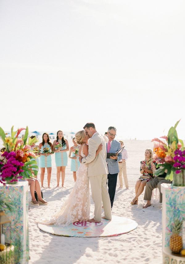 Colorful beach wedding ceremony