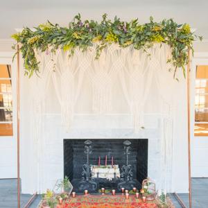 Modern boho ceremony backdrop