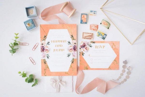 Modern peach invitation