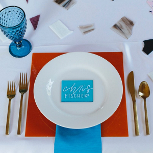 Acrylic calligraphy place setting
