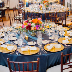 Orange and blue wedding table