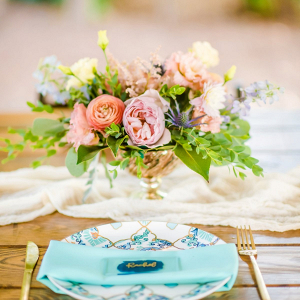 Colorful pastel wedding centerpiece