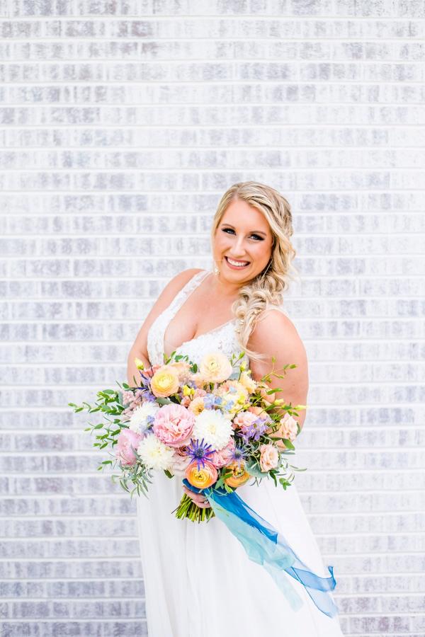 Colorful pastel bridal bouquet
