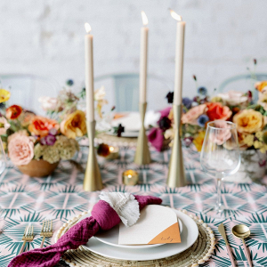 Colorful retro wedding table design