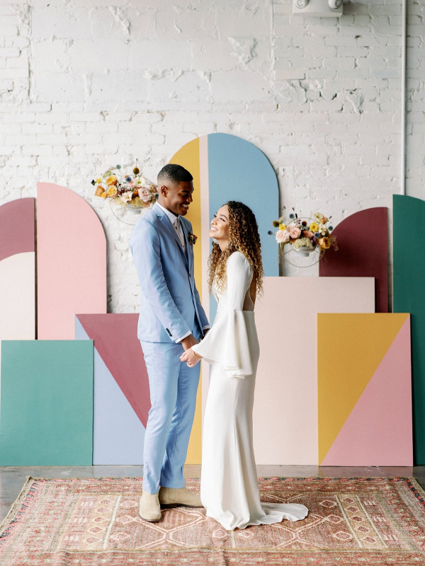Colorful retro wedding backdrop