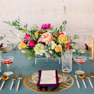 Colorful modern wedding tablescape