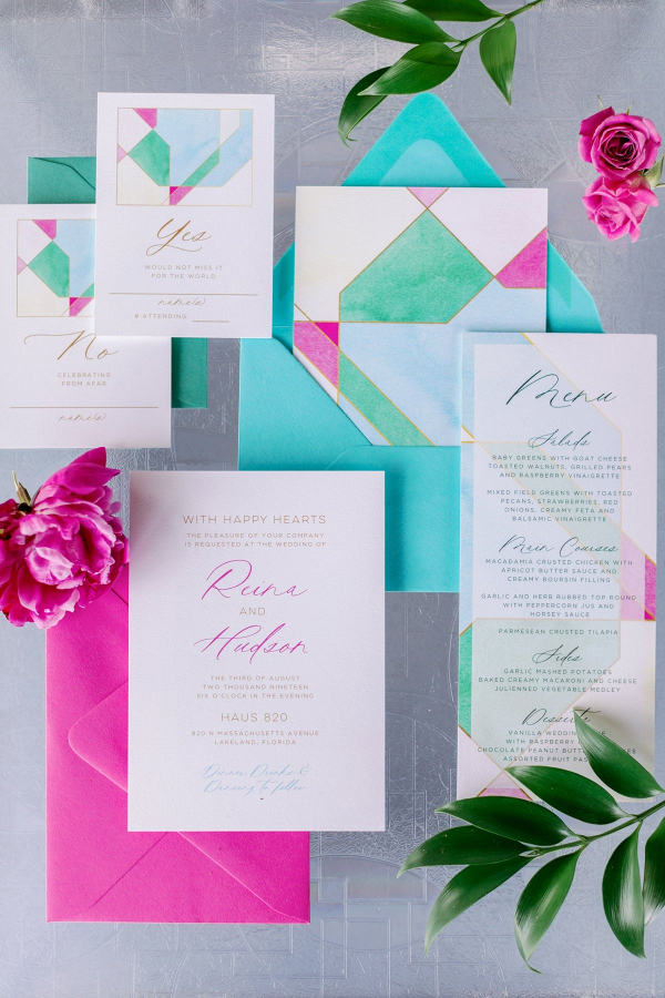 Modern stained glass inspired wedding invitations
