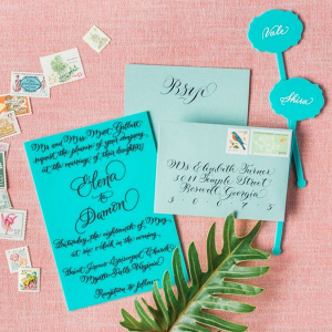 Blue calligraphy invitation