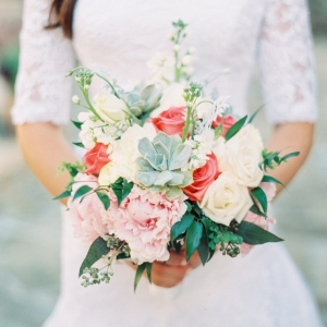 Pink and blush bouquet with succulents