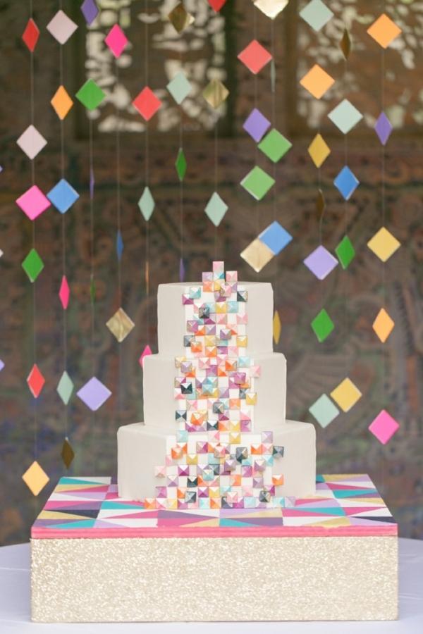 Colorful Geometric Wedding Cake