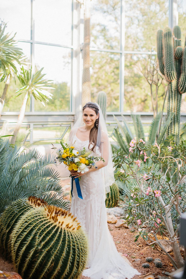 Bride with cacti