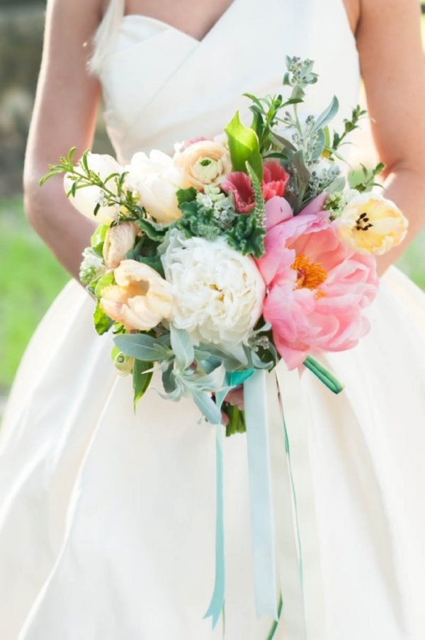 Pink, white and yellow bouquet