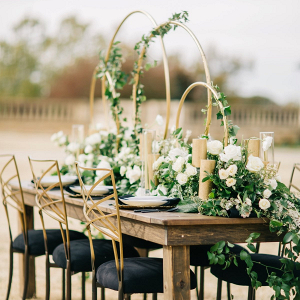 Elegant and modern black and gold wedding table