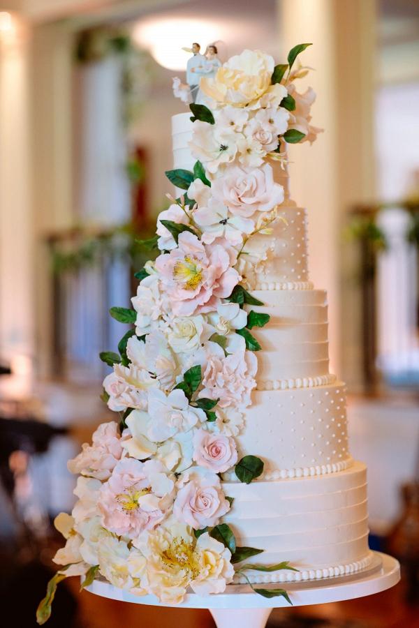 Classic blush and cream sugar flower wedding cake