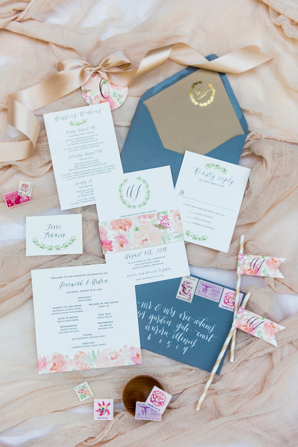 floral inspired wedding invitation on Every Last Detail