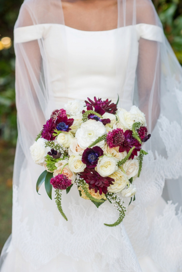 Burgundy and cream bridal bouquet