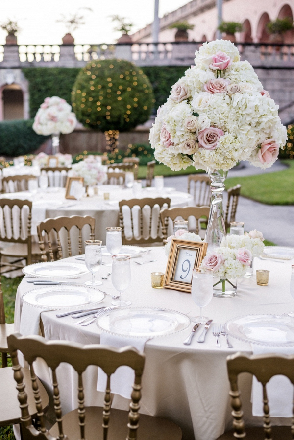 Tall blush and white floral reception centerpieces