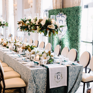 Elegant southern wedding with monogram table runner