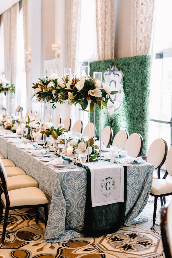 Elegant southern wedding with monogram table runner
