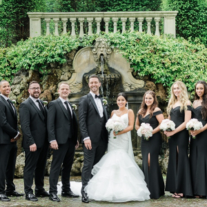 Glam black and white bridal party