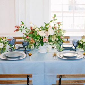 Peach and blue tablescape