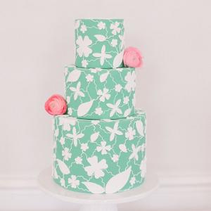 Modern floral print wedding cake