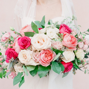 Lush pink rose bridal bouquet