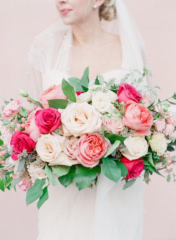 Lush pink rose bridal bouquet