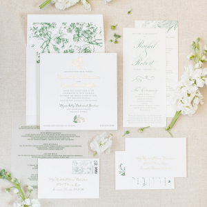 Elegant green and white invitation