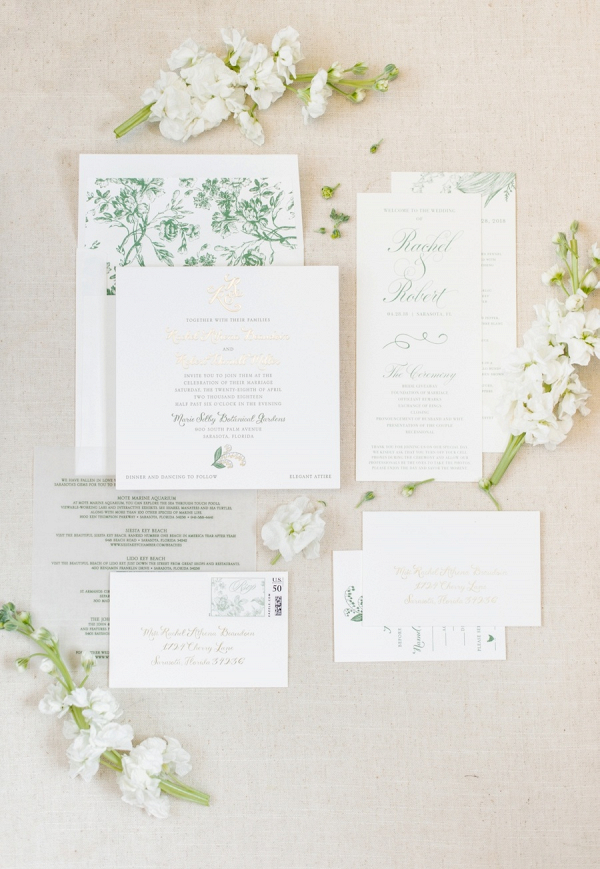 Elegant green and white invitation
