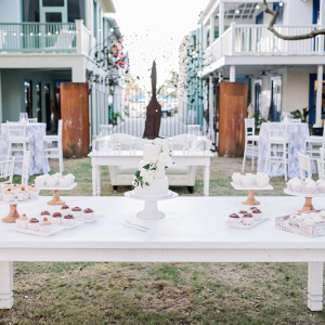 Dessert table at outdoor wedding reception