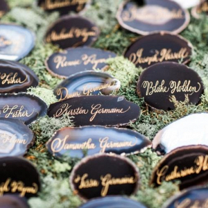 Calligraphy agate escort cards