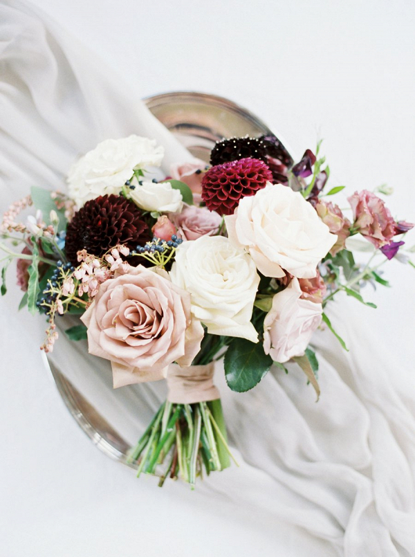 Burgundy and cream bouquet
