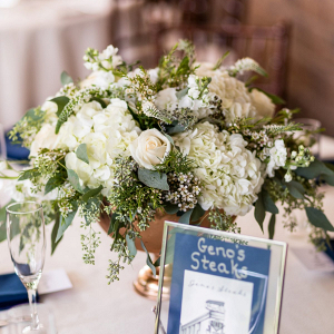 Classic wedding centerpiece with tables named after favorite places