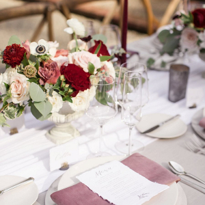 Red and blush tablescape