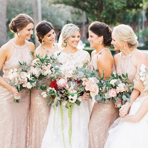 Blush Art Deco bridesmaid dresses