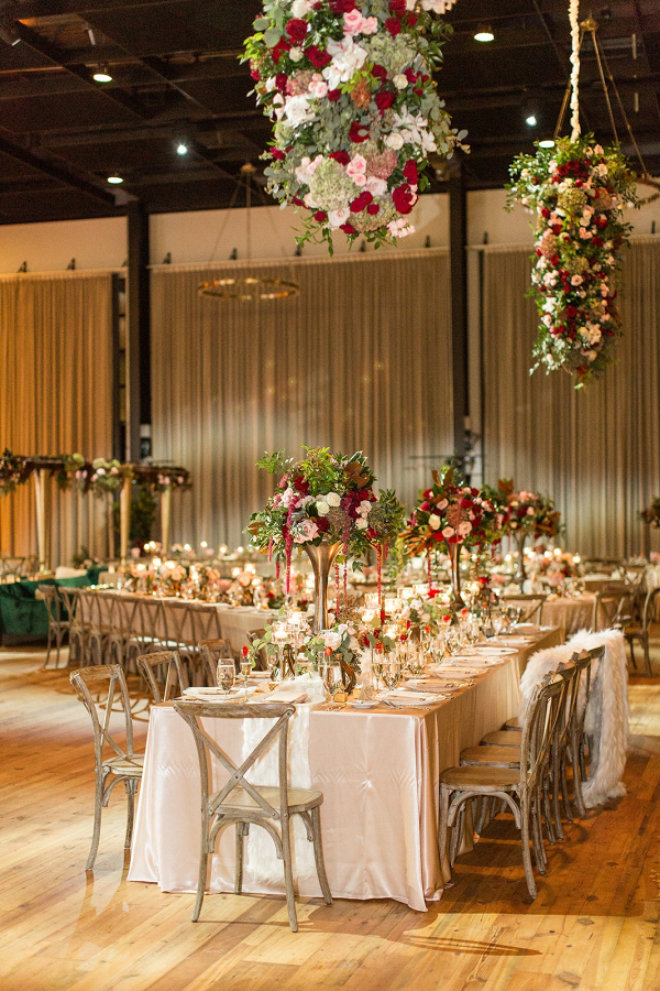 Glam Tampa wedding reception with hanging florals