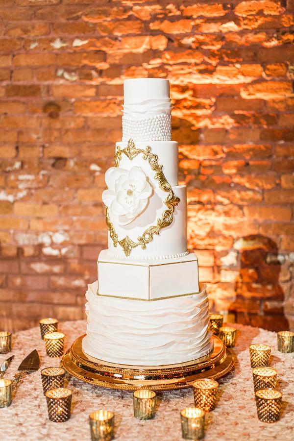 Glam gold wedding cake